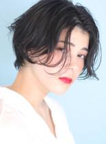 大人のクールな◇黒髪パーマショート(髪型ショートヘア)