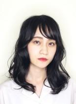 ウェーブミディアム(髪型セミロング)