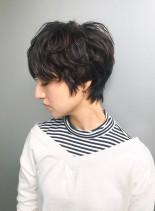 パーマ×ハンサムショート(髪型ショートヘア)