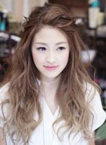 グレージュグラデロング×前髪アレンジ(髪型ロング)