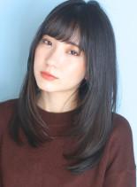 黒・暗髪◇大人ソフトなレイヤーストレート(髪型セミロング)