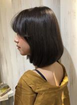 韓国人風オルチャンバングのワンレンボブ(髪型ボブ)