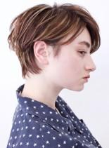 大人のハイライトショート(髪型ショートヘア)