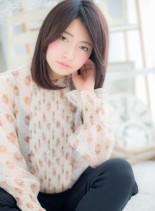 女っぽシンプル◎ハンサムストレート(髪型セミロング)