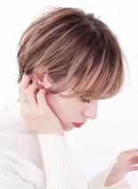 大人のハイトーンマッシュショート(髪型ショートヘア)