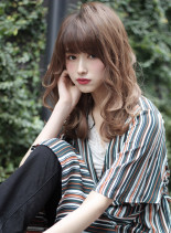 セミロング×ハイライト(髪型セミロング)