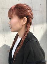 カッパーピンクベージュ×編み込みアレンジ(髪型ロング)