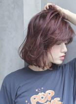 ベリー系のフェミニンボブティ(髪型ボブ)