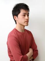 アップバング無造作サイドパートショート(髪型メンズ)