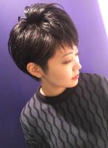 大人女性のための黒髪ショートボブ(髪型ショートヘア)