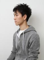 アップバングサイドパートアシメショート(髪型メンズ)