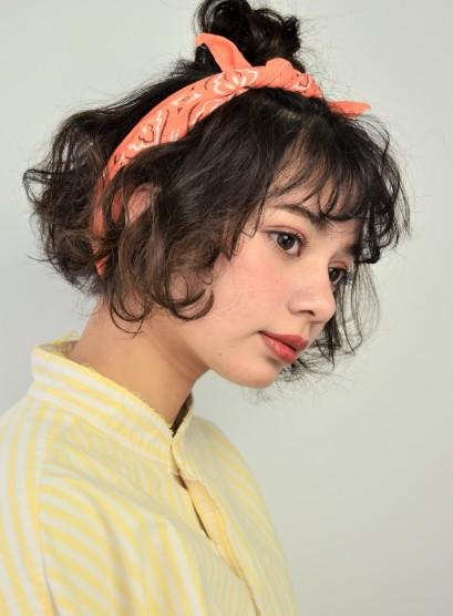 簡単バンダナルーズアレンジ (髪型ボブ)