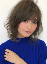 大人可愛い ひし形パーマスタイル(髪型ミディアム)