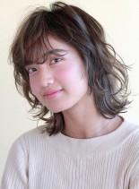 ソフトウルフ(髪型ミディアム)