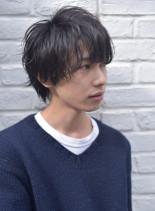 ナチュラルウルフ×ゆるパーマ(髪型メンズ)