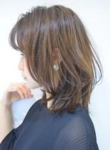 30代40代 ミディマッシュウルフ(髪型ミディアム)