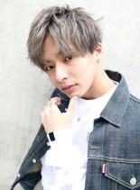 フェザーマッシュ×アッシュグレー(髪型メンズ)
