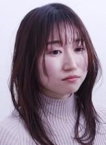 大人可愛いシースルー&チークダブルバング(髪型セミロング)