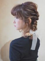 編みおろしアレンジ(髪型ミディアム)