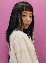 ブルーブラックストレート(髪型セミロング)