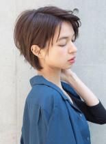 大人かわいいアップバングショート(髪型ショートヘア)