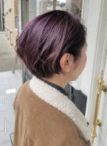 パープルアッシュショート(髪型ショートヘア)
