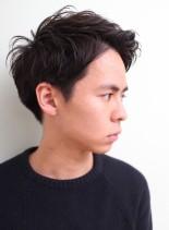 シンプルアップバングショート(髪型メンズ)
