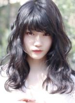ロングレイヤーのパーマスタイル(髪型セミロング)