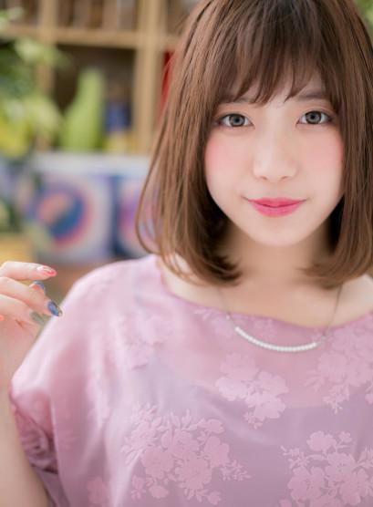 ワンカール&斜めバングの小顔大人ミディ(髪型ミディアム)