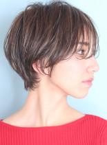小顔効果☆分け目のつかない大人ショート(髪型ショートヘア)