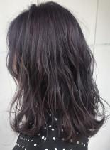 ラベンダーグレージュ(髪型ミディアム)