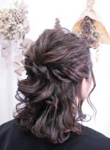 ゆる巻きハーフアップ(髪型ミディアム)