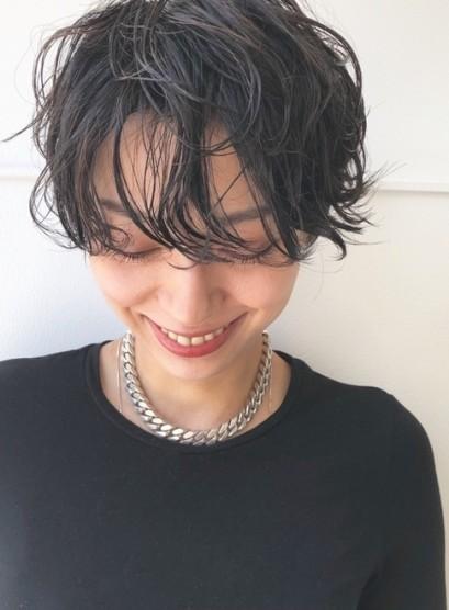 ハンサムショート×ウェーブ(髪型ショートヘア)