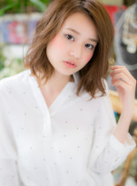 透けカラー☆無造作カールのラフボブ