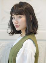 30代おすすめ☆ゆるふわ抜け感ロブ(髪型ミディアム)