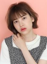 シースルーバングの☆切りっぱなしボブ(髪型ショートヘア)