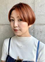 オレンジマッシュボブ(髪型ショートヘア)