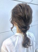 ルーズなゆる編みアレンジ(髪型セミロング)