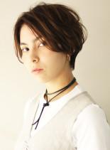 ワンカールパーマのふんわりショート(髪型ショートヘア)