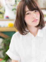 黒髪★ワンカールレイヤー丸みミディ(髪型ミディアム)