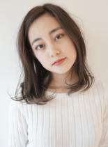 大人カジュアルロブ(髪型ミディアム)