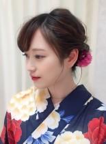 浴衣に似合うアップアレンジ(髪型ミディアム)