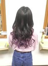 バレイヤージュ グラデーションカラー(髪型ロング)