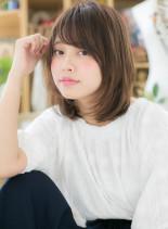 ツヤ&まとまり◎小顔ニュアンスセミディ(髪型ミディアム)