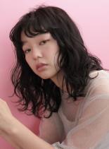 ラフウエーブミディ(髪型ミディアム)