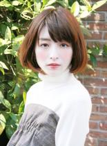 大人女性の上品ツヤ髪ブラウンボブ(髪型ボブ)