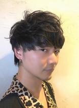 カーリー2ブロックウルフ(髪型メンズ)