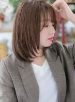 横顔美人♪ワンカールストレート艶ミディ(髪型ミディアム)