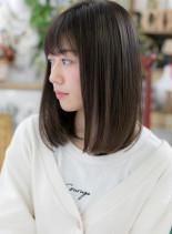 横顔美人♪黒髪ワンカール小顔艶ミディ(髪型ミディアム)