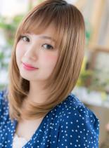骨格矯正効果☆斜めバングの小顔艶セミディ(髪型セミロング)